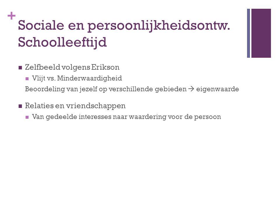 + Sociale en persoonlijkheidsontw. Schoolleeftijd Zelfbeeld volgens Erikson Vlijt vs. Minderwaardigheid Beoordeling van jezelf op verschillende gebied