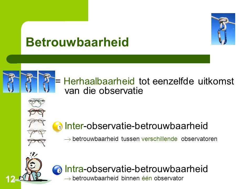 12 Betrouwbaarheid = Herhaalbaarheid tot eenzelfde uitkomst van die observatie Inter-observatie-betrouwbaarheid  betrouwbaarheid tussen verschillende