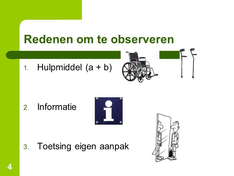 4 Redenen om te observeren 1. Hulpmiddel (a + b) 2. Informatie 3. Toetsing eigen aanpak