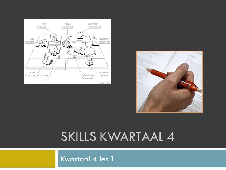 SKILLS KWARTAAL 4 Kwartaal 4 les 1