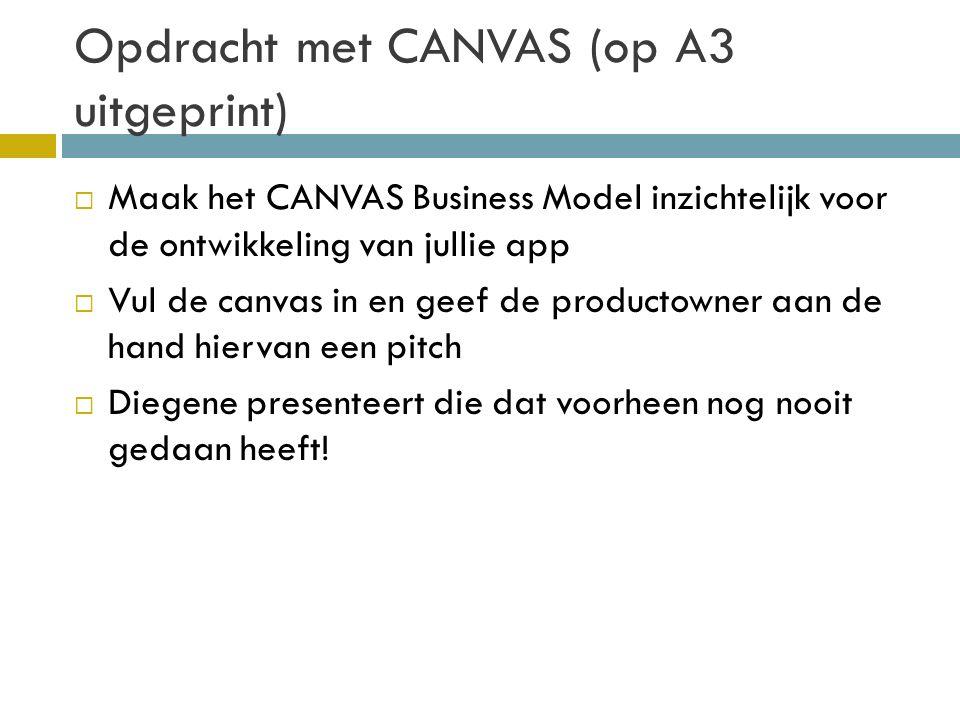 Opdracht met CANVAS (op A3 uitgeprint)  Maak het CANVAS Business Model inzichtelijk voor de ontwikkeling van jullie app  Vul de canvas in en geef de productowner aan de hand hiervan een pitch  Diegene presenteert die dat voorheen nog nooit gedaan heeft!