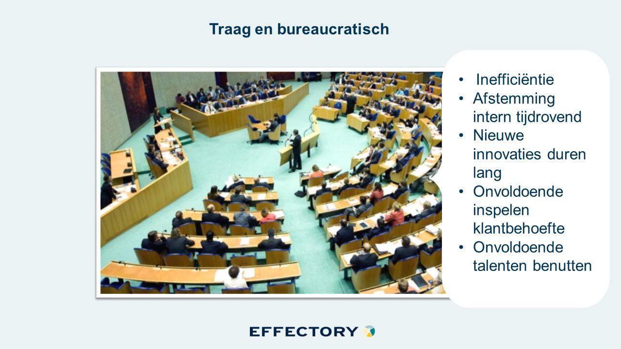 Traag en bureaucratisch Inefficiëntie Afstemming intern tijdrovend Nieuwe innovaties duren lang Onvoldoende inspelen klantbehoefte Onvoldoende talenten benutten