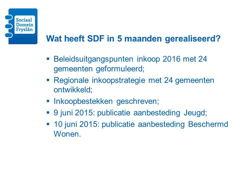 Wat heeft SDF in 5 maanden gerealiseerd.