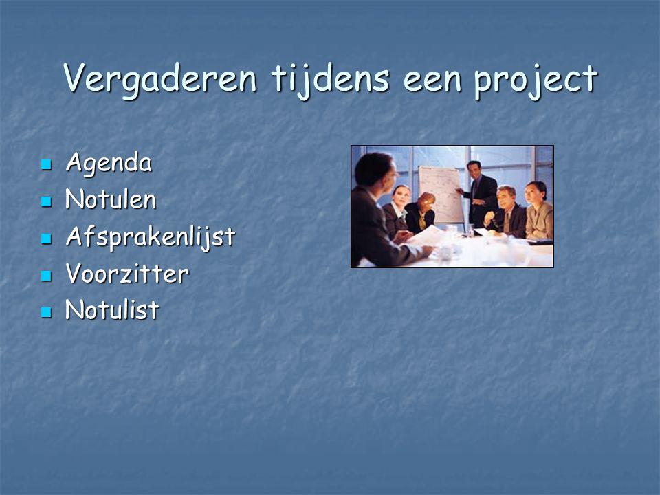 Vergaderen tijdens een project Agenda Agenda Notulen Notulen Afsprakenlijst Afsprakenlijst Voorzitter Voorzitter Notulist Notulist