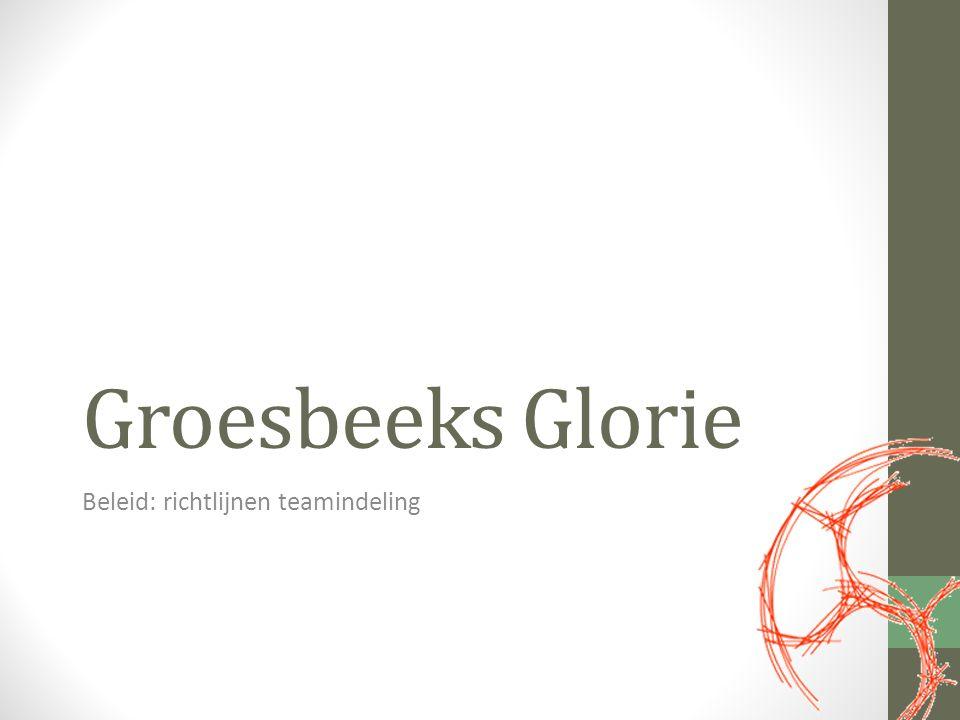 Groesbeeks Glorie Beleid: richtlijnen teamindeling