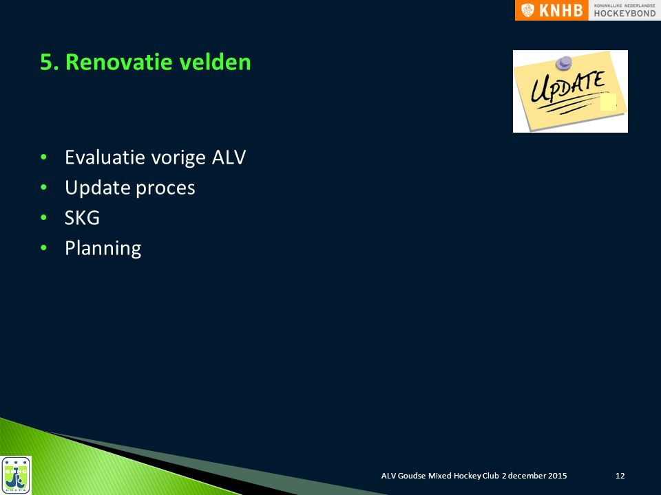 5. Renovatie velden Evaluatie vorige ALV Update proces SKG Planning 12ALV Goudse Mixed Hockey Club 2 december 2015