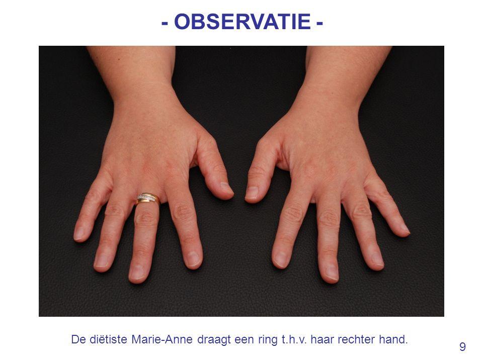 - OBSERVATIE - De diëtiste Marie-Anne draagt een ring t.h.v. haar rechter hand. 9