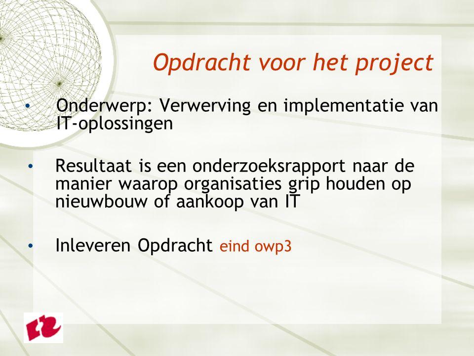 Onderwerp: Verwerving en implementatie van IT-oplossingen Resultaat is een onderzoeksrapport naar de manier waarop organisaties grip houden op nieuwbouw of aankoop van IT Inleveren Opdracht eind owp3 Opdracht voor het project