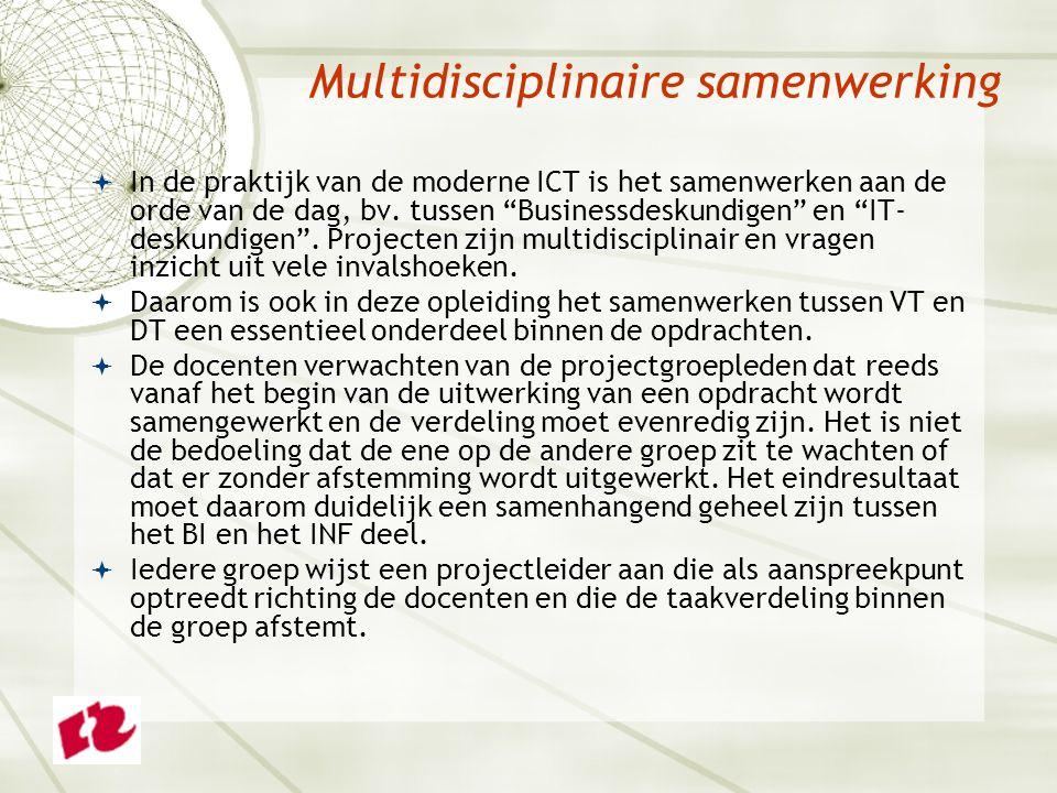 Multidisciplinaire samenwerking  In de praktijk van de moderne ICT is het samenwerken aan de orde van de dag, bv.