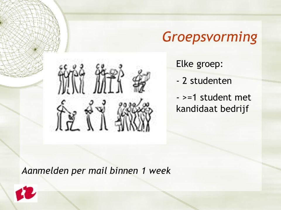 Groepsvorming Elke groep: - 2 studenten - >=1 student met kandidaat bedrijf Aanmelden per mail binnen 1 week