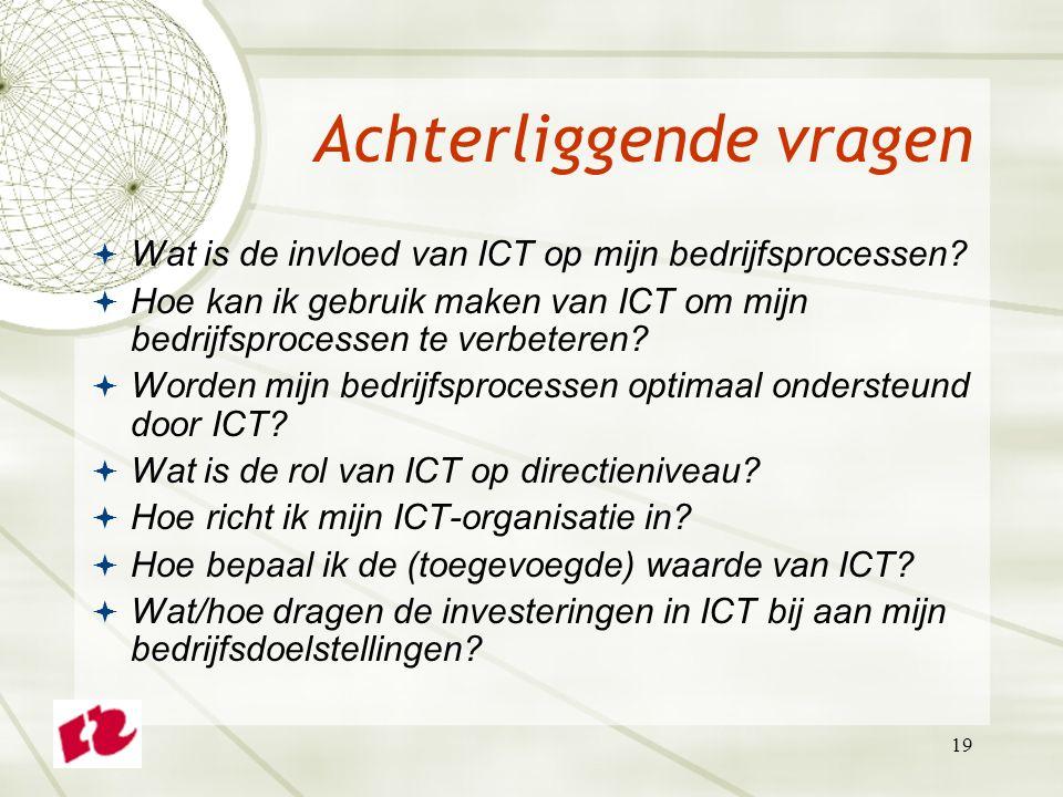 19 Achterliggende vragen  Wat is de invloed van ICT op mijn bedrijfsprocessen.
