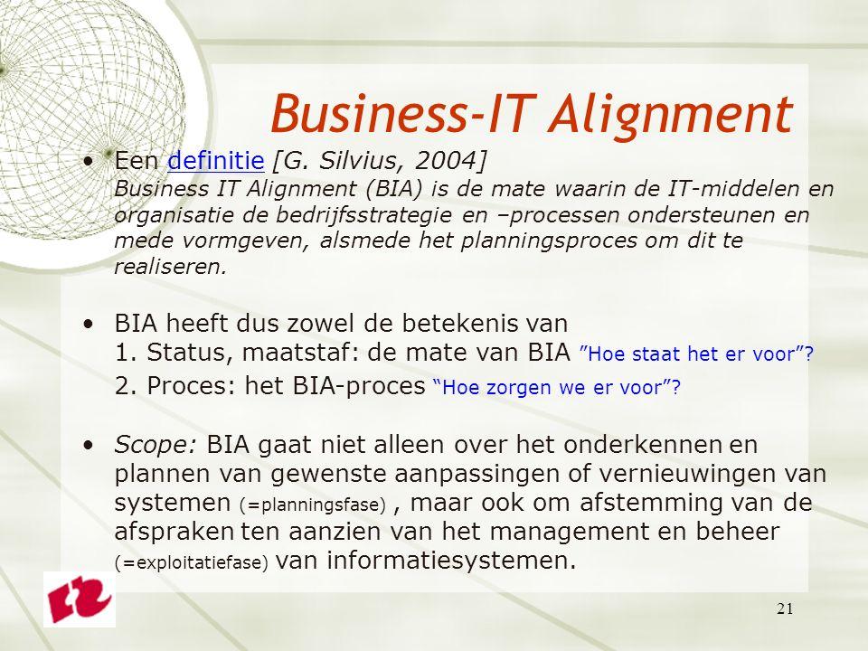21 Business-IT Alignment Een definitie [G.