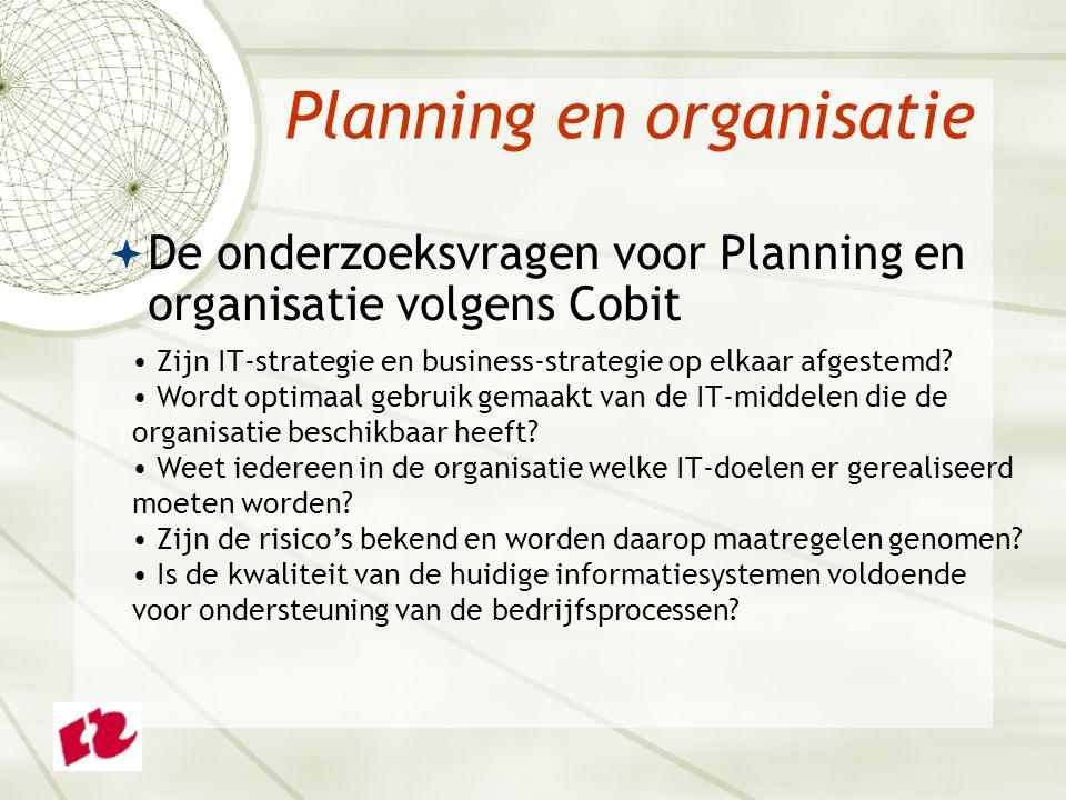 Planning en organisatie  De onderzoeksvragen voor Planning en organisatie volgens Cobit Zijn IT-strategie en business-strategie op elkaar afgestemd.