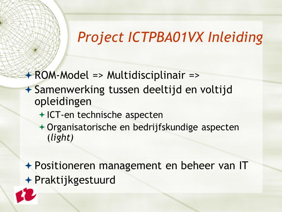 Project ICTPBA01VX Inleiding  ROM-Model => Multidisciplinair =>  Samenwerking tussen deeltijd en voltijd opleidingen  ICT-en technische aspecten  Organisatorische en bedrijfskundige aspecten (light)  Positioneren management en beheer van IT  Praktijkgestuurd