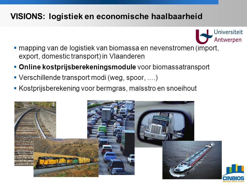  mapping van de logistiek van biomassa en nevenstromen (import, export, domestic transport) in Vlaanderen  Online kostprijsberekeningsmodule voor biomassatransport  Verschillende transport modi (weg, spoor,....)  Kostprijsberekening voor bermgras, maïsstro en snoeihout VISIONS: logistiek en economische haalbaarheid