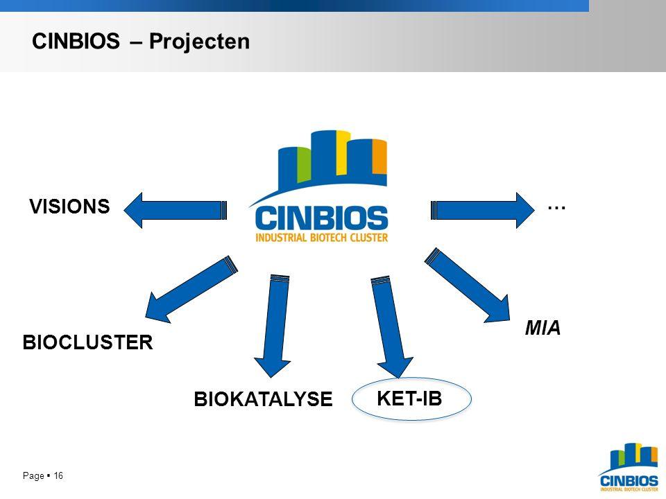VISIONS BIOCLUSTER KET-IB BIOKATALYSE … MIA CINBIOS – Projecten Page  16