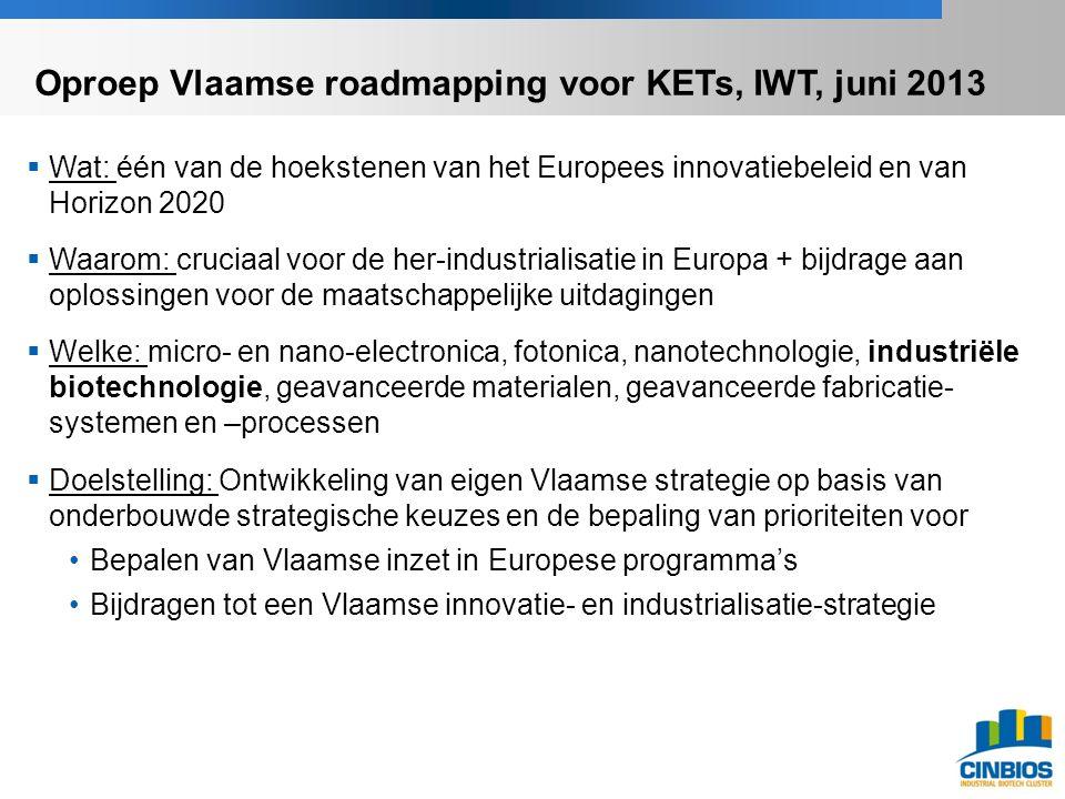 Oproep Vlaamse roadmapping voor KETs, IWT, juni 2013  Wat: één van de hoekstenen van het Europees innovatiebeleid en van Horizon 2020  Waarom: cruciaal voor de her-industrialisatie in Europa + bijdrage aan oplossingen voor de maatschappelijke uitdagingen  Welke: micro- en nano-electronica, fotonica, nanotechnologie, industriële biotechnologie, geavanceerde materialen, geavanceerde fabricatie- systemen en –processen  Doelstelling: Ontwikkeling van eigen Vlaamse strategie op basis van onderbouwde strategische keuzes en de bepaling van prioriteiten voor Bepalen van Vlaamse inzet in Europese programma's Bijdragen tot een Vlaamse innovatie- en industrialisatie-strategie