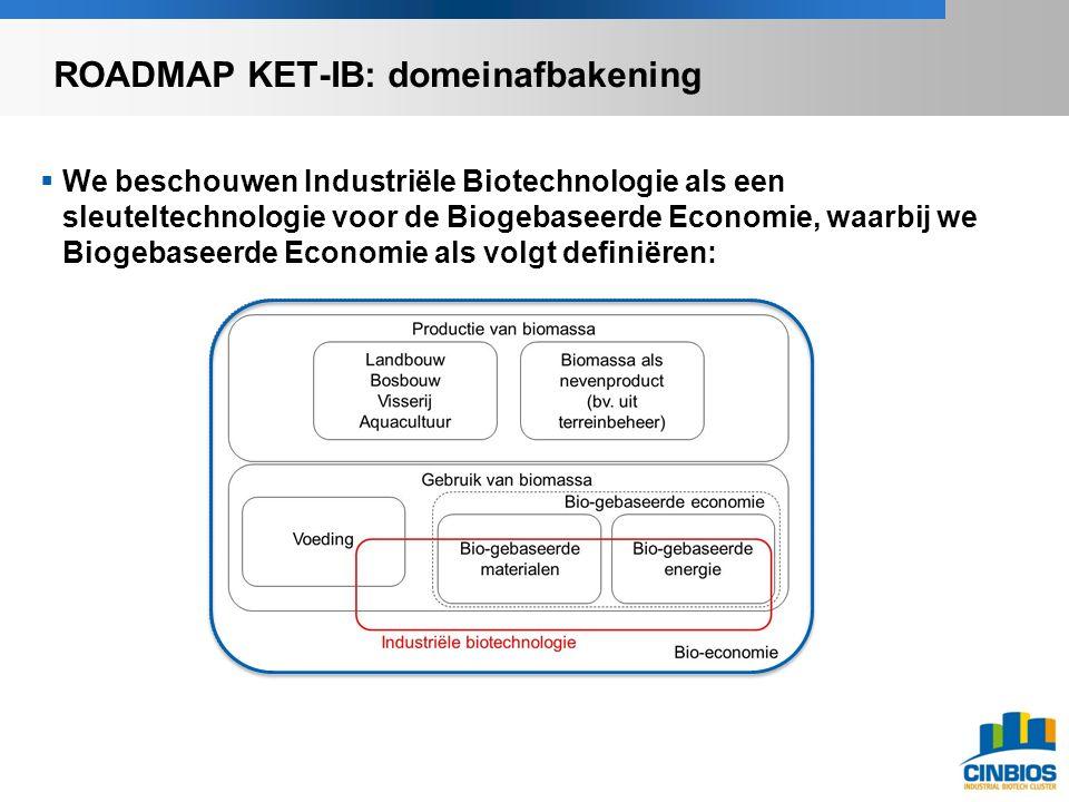 GBEV ledenvergadering  We beschouwen Industriële Biotechnologie als een sleuteltechnologie voor de Biogebaseerde Economie, waarbij we Biogebaseerde Economie als volgt definiëren: Mina-raad Advies Duurzaam gebruik van biomassa in een bio-economie , Feb 2013 ROADMAP KET-IB: domeinafbakening