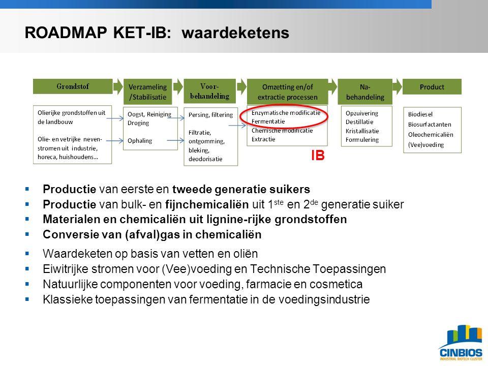  Productie van eerste en tweede generatie suikers  Productie van bulk- en fijnchemicaliën uit 1 ste en 2 de generatie suiker  Materialen en chemicaliën uit lignine-rijke grondstoffen  Conversie van (afval)gas in chemicaliën  Waardeketen op basis van vetten en oliën  Eiwitrijke stromen voor (Vee)voeding en Technische Toepassingen  Natuurlijke componenten voor voeding, farmacie en cosmetica  Klassieke toepassingen van fermentatie in de voedingsindustrie IB ROADMAP KET-IB: waardeketens