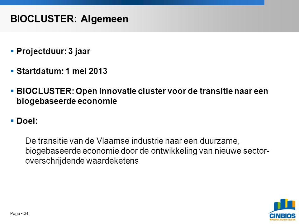 Page  34  Projectduur: 3 jaar  Startdatum: 1 mei 2013  BIOCLUSTER: Open innovatie cluster voor de transitie naar een biogebaseerde economie  Doel: De transitie van de Vlaamse industrie naar een duurzame, biogebaseerde economie door de ontwikkeling van nieuwe sector- overschrijdende waardeketens BIOCLUSTER: Algemeen