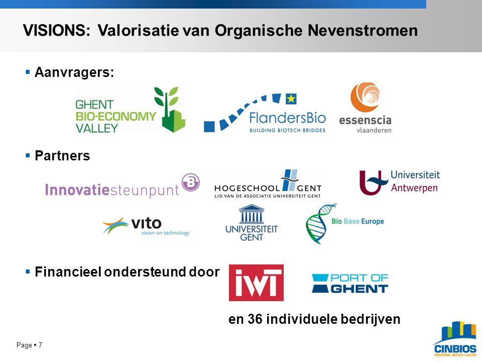 Page  7  Aanvragers:  Partners  Financieel ondersteund door en 36 individuele bedrijven VISIONS: Valorisatie van Organische Nevenstromen