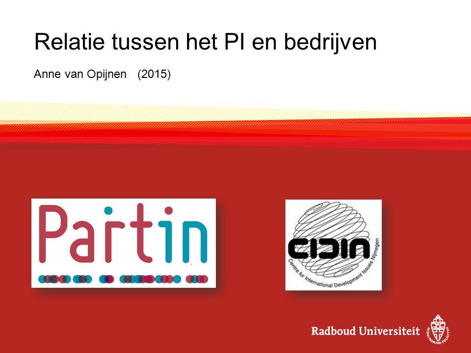 Relatie tussen het PI en bedrijven Anne van Opijnen (2015)