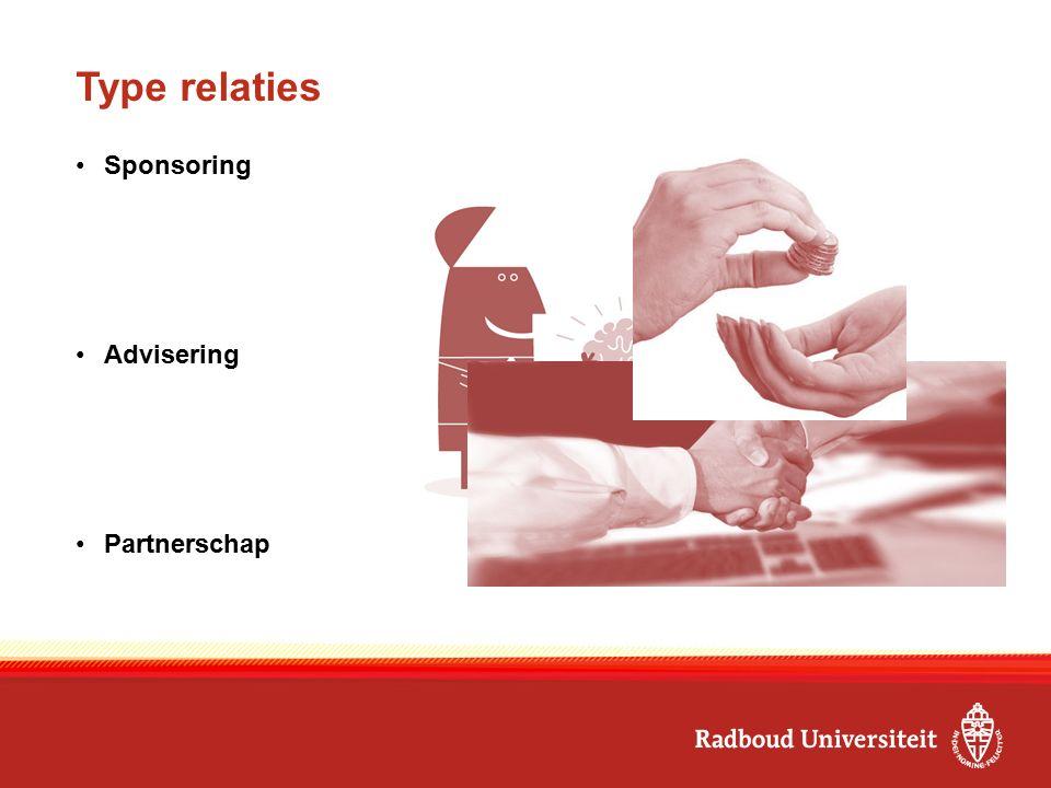Type relaties Sponsoring Advisering Partnerschap