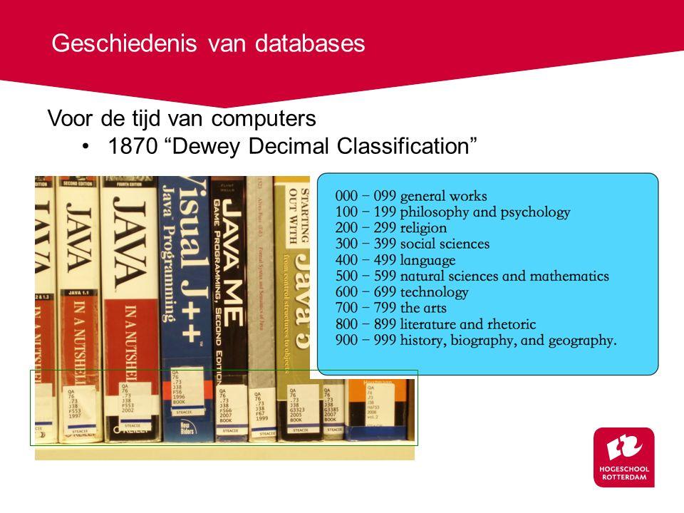 Geschiedenis van databases Voor de tijd van computers 1870 Dewey Decimal Classification