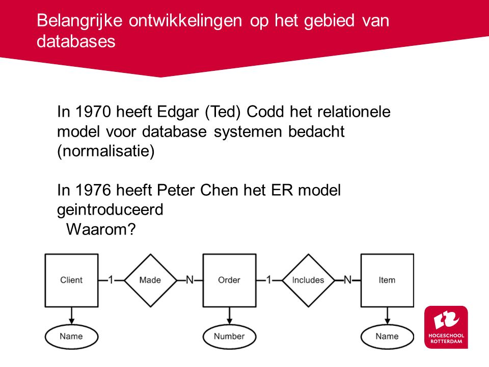 Belangrijke ontwikkelingen op het gebied van databases In 1970 heeft Edgar (Ted) Codd het relationele model voor database systemen bedacht (normalisatie) In 1976 heeft Peter Chen het ER model geintroduceerd Waarom
