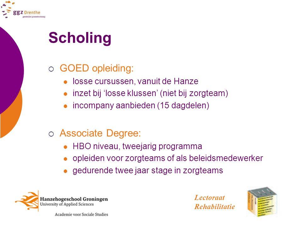 Scholing  GOED opleiding: losse cursussen, vanuit de Hanze inzet bij 'losse klussen' (niet bij zorgteam) incompany aanbieden (15 dagdelen)  Associat