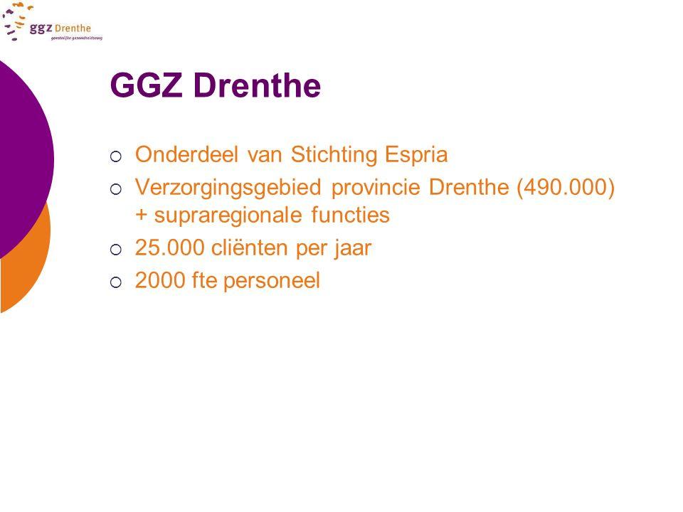 GGZ Drenthe  Onderdeel van Stichting Espria  Verzorgingsgebied provincie Drenthe (490.000) + supraregionale functies  25.000 cliënten per jaar  20