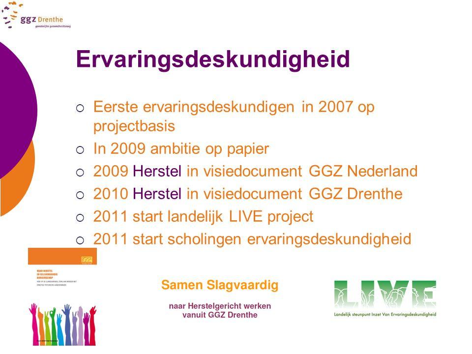 Ervaringsdeskundigheid  Eerste ervaringsdeskundigen in 2007 op projectbasis  In 2009 ambitie op papier  2009 Herstel in visiedocument GGZ Nederland