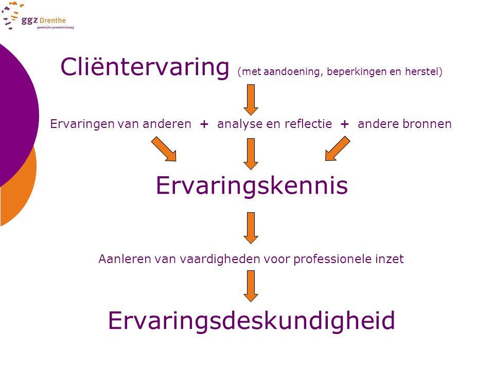 Cliëntervaring (met aandoening, beperkingen en herstel) Ervaringen van anderen + analyse en reflectie + andere bronnen Ervaringskennis Aanleren van va