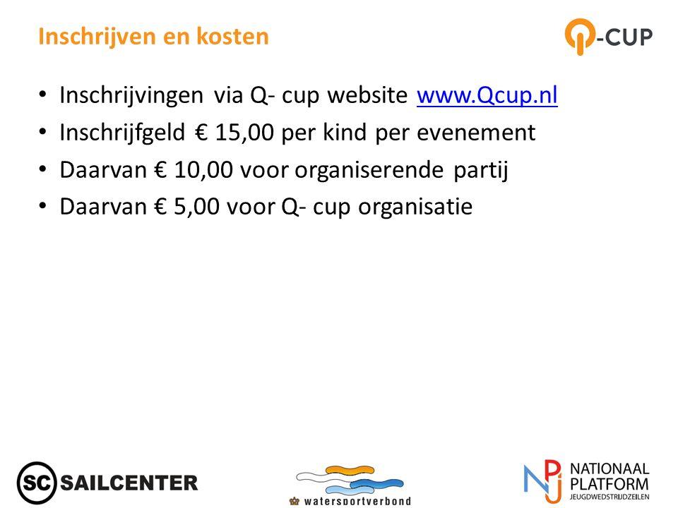 Inschrijven en kosten Inschrijvingen via Q- cup website www.Qcup.nlwww.Qcup.nl Inschrijfgeld € 15,00 per kind per evenement Daarvan € 10,00 voor organiserende partij Daarvan € 5,00 voor Q- cup organisatie