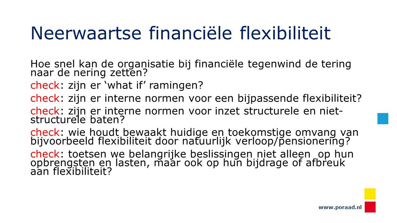 www.poraad.nl Neerwaartse financiële flexibiliteit Hoe snel kan de organisatie bij financiële tegenwind de tering naar de nering zetten.