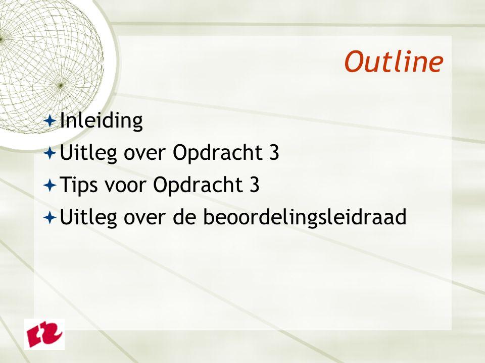 Outline  Inleiding  Uitleg over Opdracht 3  Tips voor Opdracht 3  Uitleg over de beoordelingsleidraad