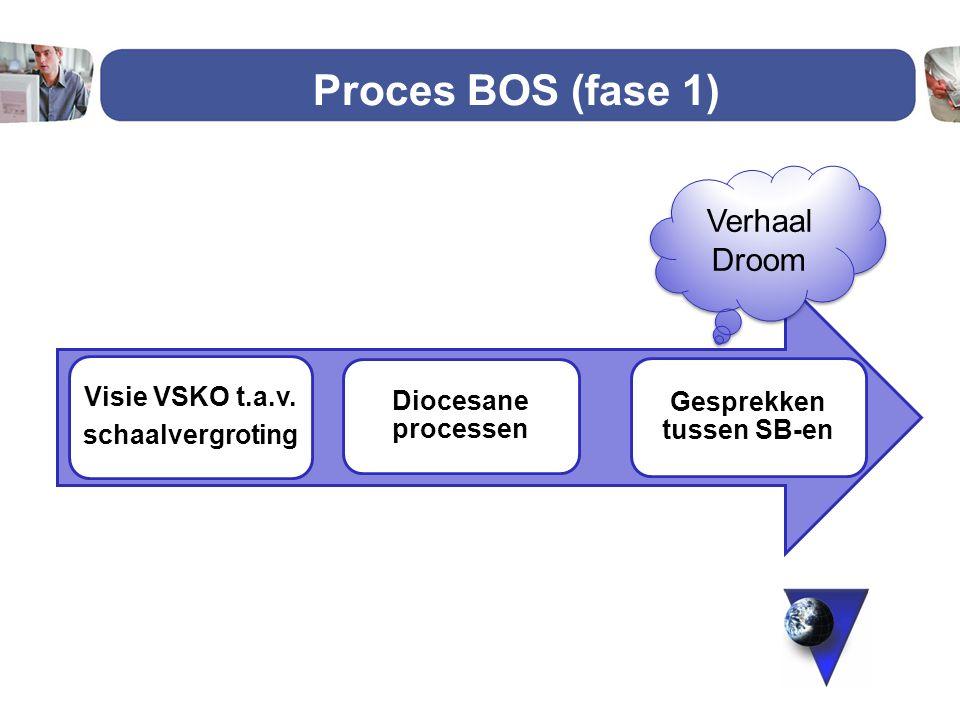 Proces BOS (fase 1) Visie VSKO t.a.v. schaalvergroting Diocesane processen Gesprekken tussen SB-en Verhaal Droom 1