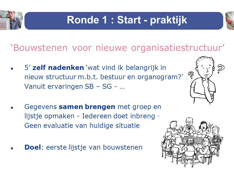 Ronde 1 : Start - praktijk 'Bouwstenen voor nieuwe organisatiestructuur' n 5' zelf nadenken 'wat vind ik belangrijk in nieuw structuur m.b.t. bestuur
