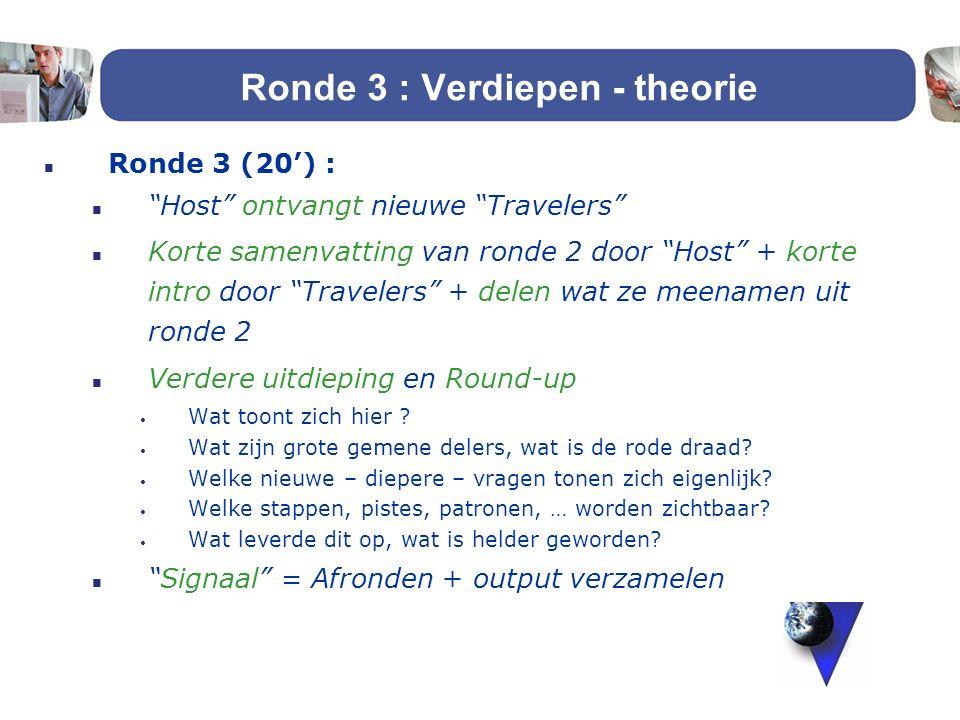 """Ronde 3 : Verdiepen - theorie n Ronde 3 (20') : n """"Host"""" ontvangt nieuwe """"Travelers"""" n Korte samenvatting van ronde 2 door """"Host"""" + korte intro door """""""