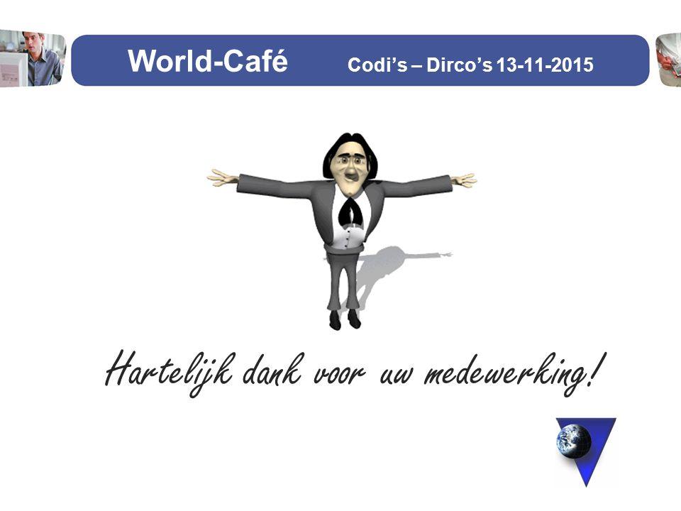 Hartelijk dank voor uw medewerking! World-Café Codi's – Dirco's 13-11-2015