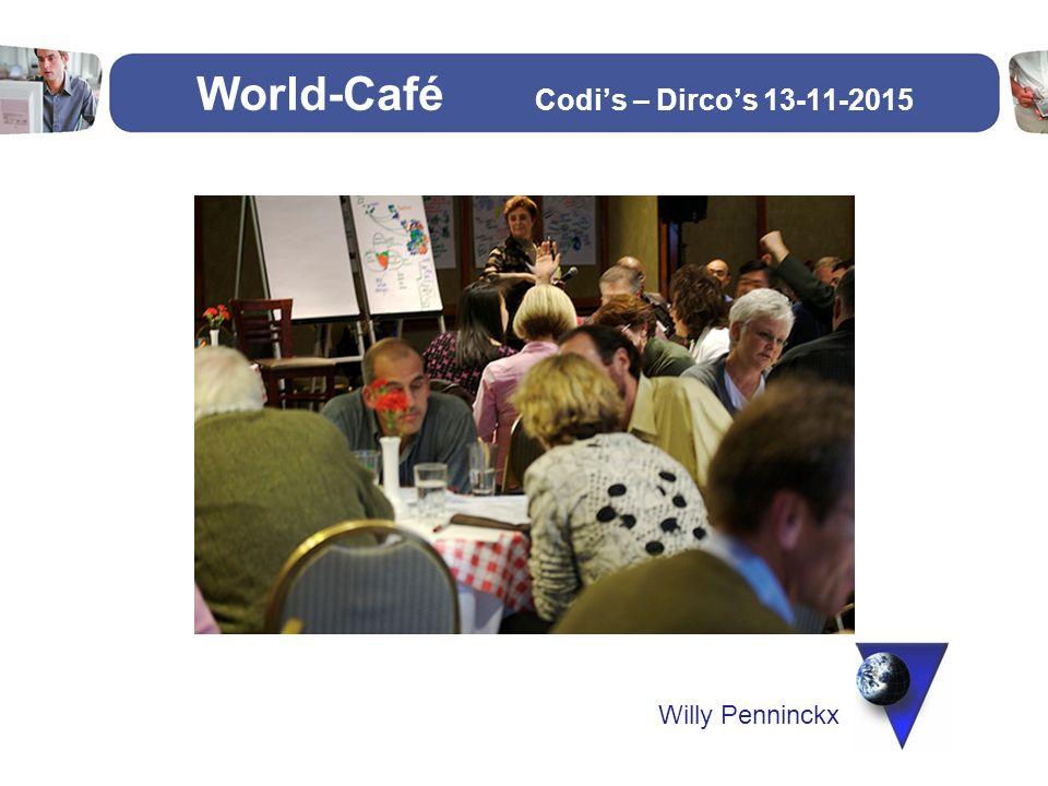 World-Café Situatieschets: -Samenwerking door schoolbesturen -SB met 4 scholen basis en secundair -SB met 2 scholen secundair -6 SB met 1 school basis -Thema: Nadenken over nieuwe organisatiestructuur BOS -Doelgroep: -Bestuurders -Directie -Middenkader ( beleidsmedewerkers, beleidsondersteuners, …) -Vertegenwoordiging personeel (LOC, Ped.