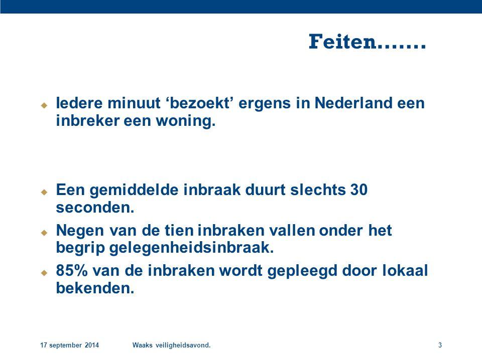 17 september 2014Waaks veiligheidsavond.3 Feiten…….  Iedere minuut 'bezoekt' ergens in Nederland een inbreker een woning.  Een gemiddelde inbraak du