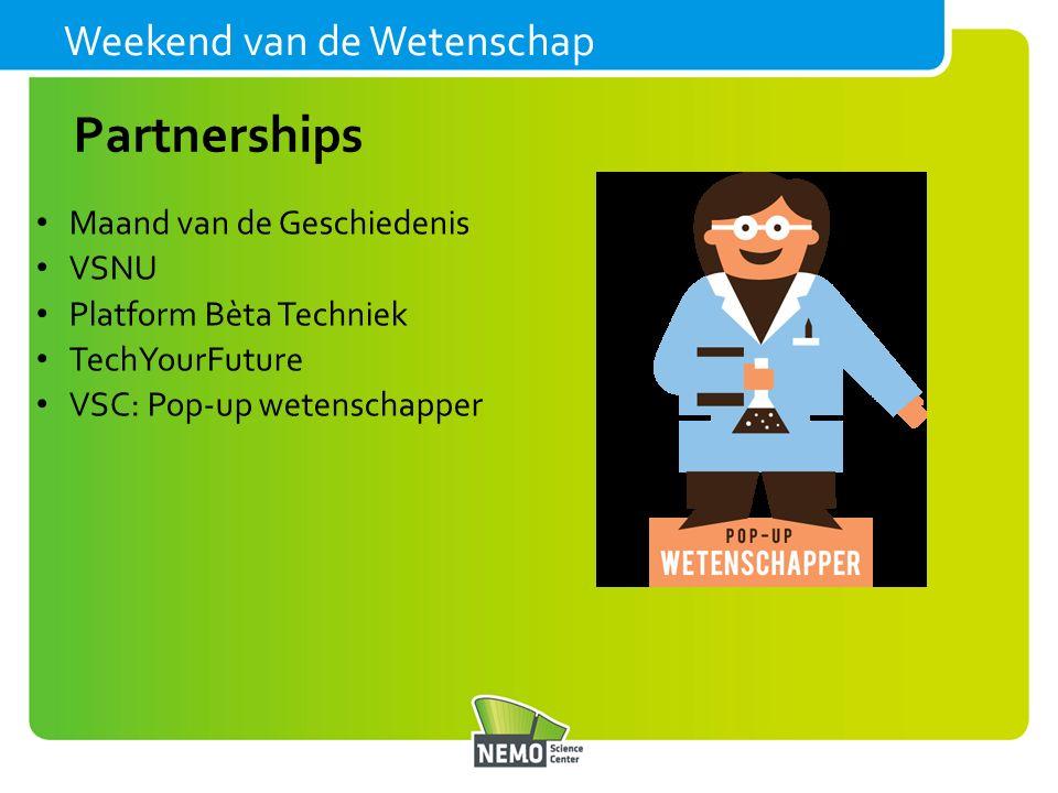 Weekend van de Wetenschap Maand van de Geschiedenis VSNU Platform Bèta Techniek TechYourFuture VSC: Pop-up wetenschapper Partnerships