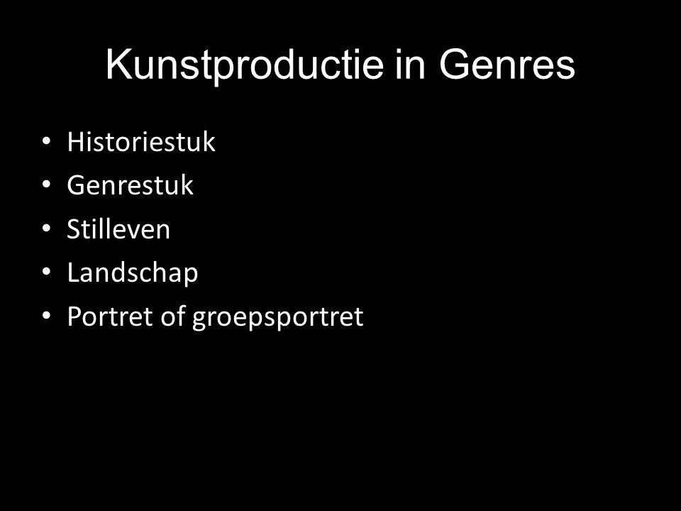 Kunstproductie in Genres Historiestuk Genrestuk Stilleven Landschap Portret of groepsportret