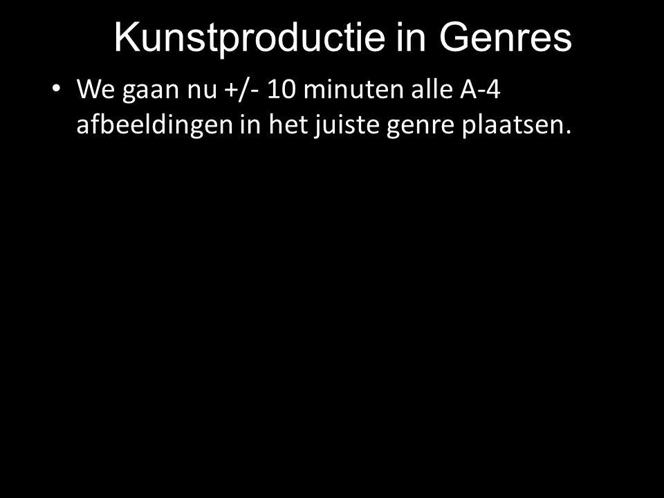 Kunstproductie in Genres We gaan nu +/- 10 minuten alle A-4 afbeeldingen in het juiste genre plaatsen.