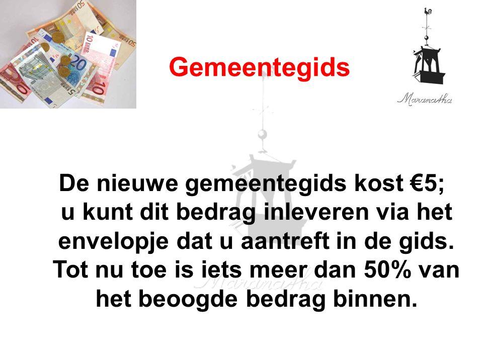 De nieuwe gemeentegids kost €5; u kunt dit bedrag inleveren via het envelopje dat u aantreft in de gids.