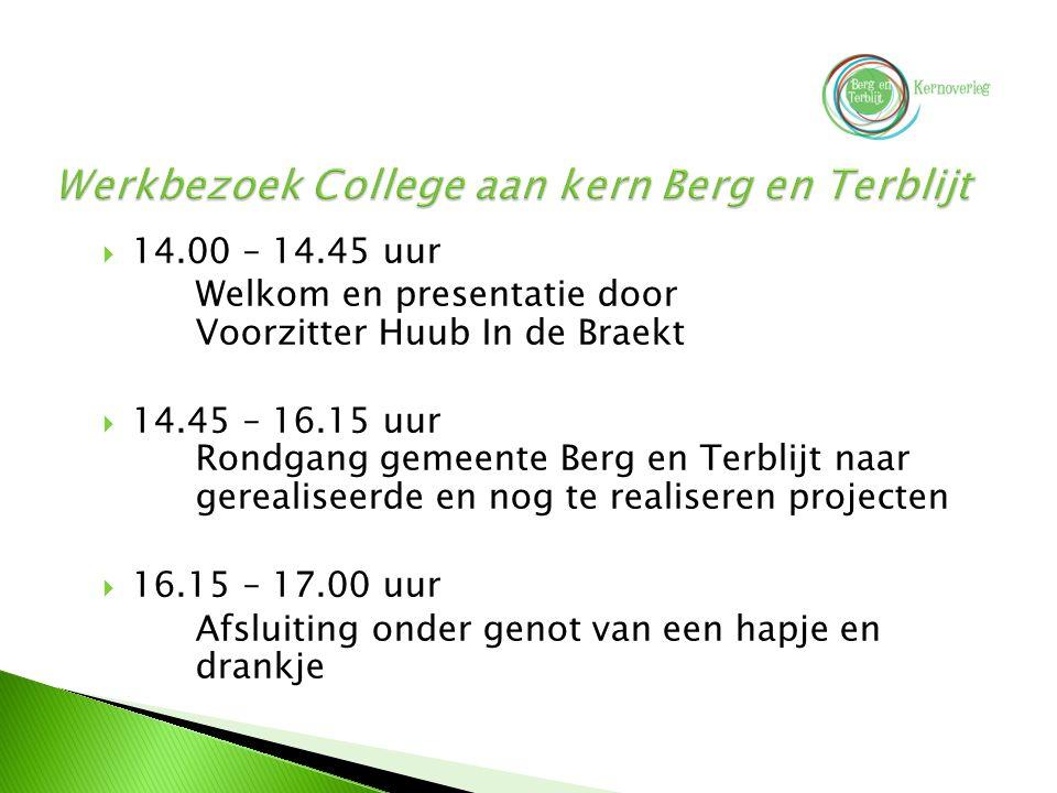  14.00 – 14.45 uur Welkom en presentatie door Voorzitter Huub In de Braekt  14.45 – 16.15 uur Rondgang gemeente Berg en Terblijt naar gerealiseerde