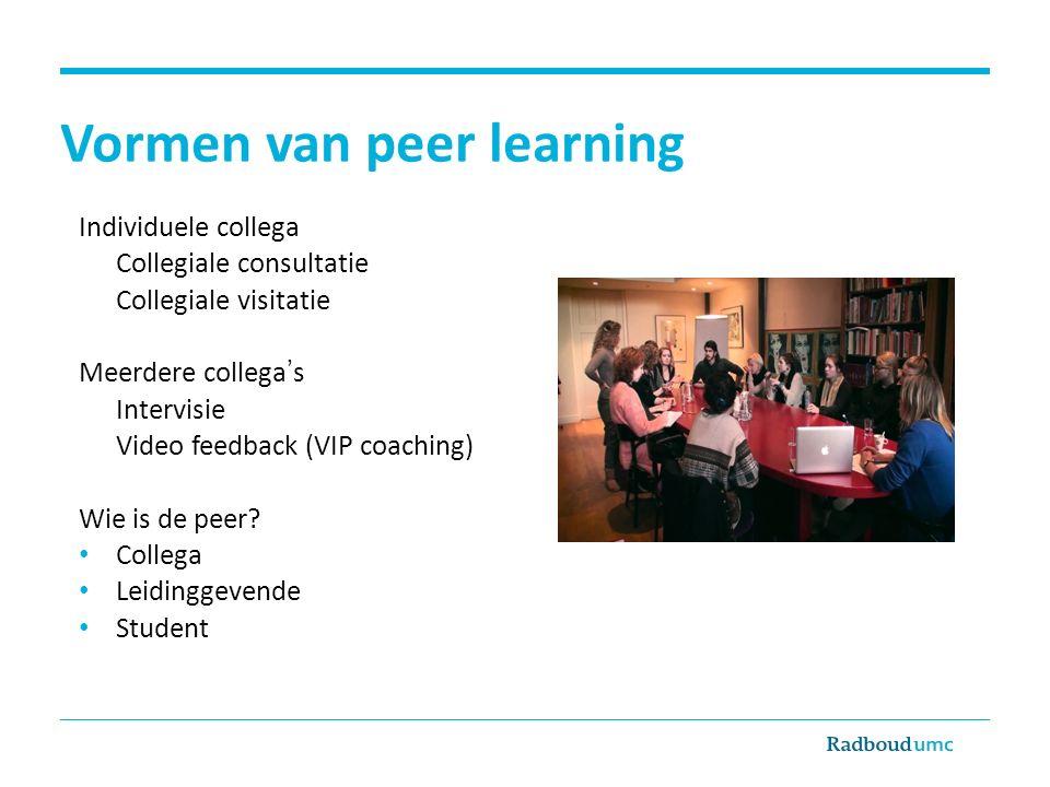 Vormen van peer learning Individuele collega Collegiale consultatie Collegiale visitatie Meerdere collega's Intervisie Video feedback (VIP coaching) W