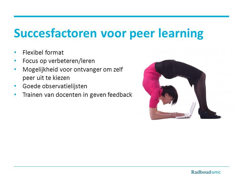 Succesfactoren voor peer learning Flexibel format Focus op verbeteren/leren Mogelijkheid voor ontvanger om zelf peer uit te kiezen Goede observatielij