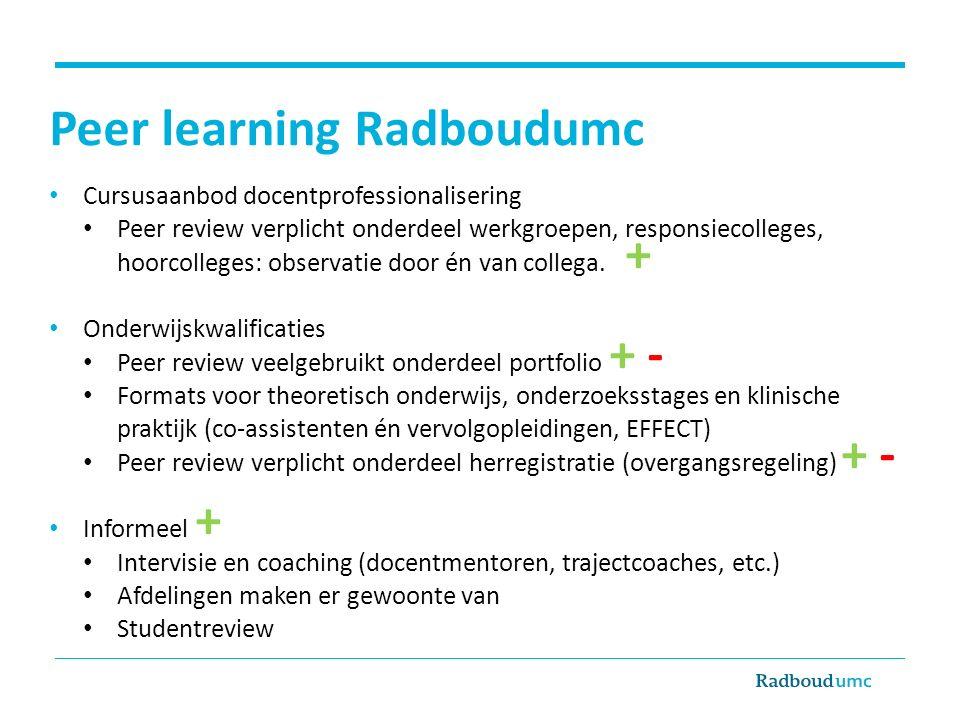 Peer learning Radboudumc Cursusaanbod docentprofessionalisering Peer review verplicht onderdeel werkgroepen, responsiecolleges, hoorcolleges: observat